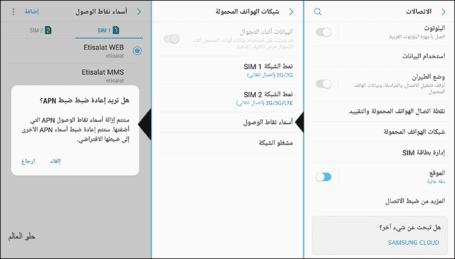 إعادة ضبط أسماء نقاط الوصول (APN)
